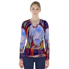 Abstract Tunnel V Neck Long Sleeve Top