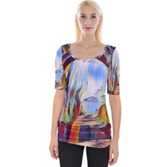Abstract Tunnel Wide Neckline Tee