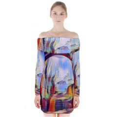 Abstract Tunnel Long Sleeve Off Shoulder Dress