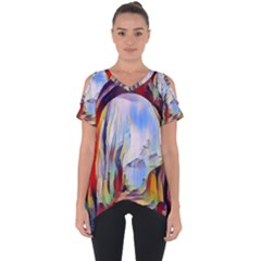 Abstract Tunnel Cut Out Side Drop Tee