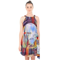 Abstract Tunnel Halter Collar Waist Tie Chiffon Dress