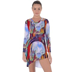 Abstract Tunnel Asymmetric Cut Out Shift Dress