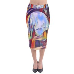 Abstract Tunnel Velvet Midi Pencil Skirt