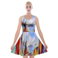 Abstract Tunnel Velvet Skater Dress