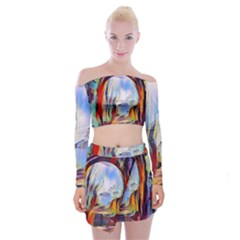 Abstract Tunnel Off Shoulder Top With Skirt Set