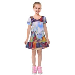 Abstract Tunnel Kids  Short Sleeve Velvet Dress