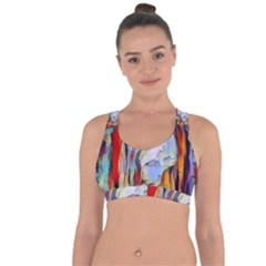 Abstract Tunnel Cross String Back Sports Bra