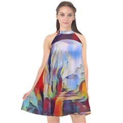 Abstract Tunnel Halter Neckline Chiffon Dress