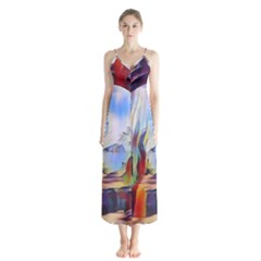 Abstract Tunnel Button Up Chiffon Maxi Dress