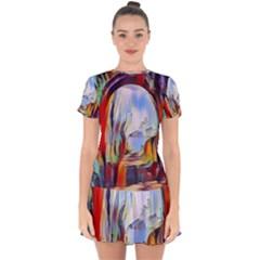 Abstract Tunnel Drop Hem Mini Chiffon Dress