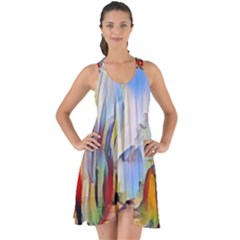 Abstract Tunnel Show Some Back Chiffon Dress