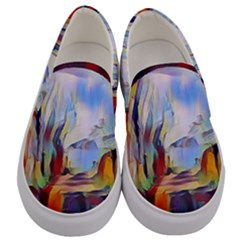 Abstract Tunnel Men s Canvas Slip Ons