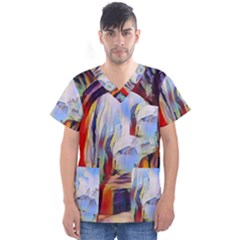 Abstract Tunnel Men s V Neck Scrub Top by 8fugoso