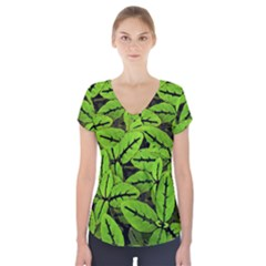 Nature Print Pattern Short Sleeve Front Detail Top by dflcprints