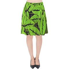 Nature Print Pattern Velvet High Waist Skirt by dflcprints