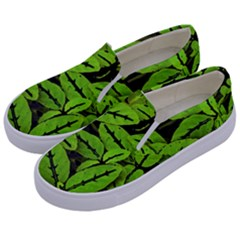 Nature Print Pattern Kids  Canvas Slip Ons by dflcprints