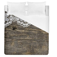 Shabbychicwoodwall Duvet Cover (queen Size) by 8fugoso