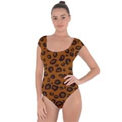 Dark Leopard Short Sleeve Leotard  by TRENDYcouture