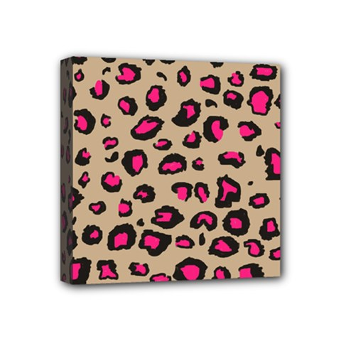 Pink Leopard 2 Mini Canvas 4  X 4  by TRENDYcouture