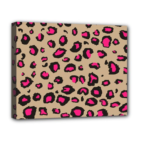 Pink Leopard 2 Deluxe Canvas 20  X 16   by TRENDYcouture