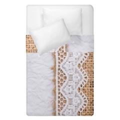 Parchement,lace And Burlap Duvet Cover Double Side (single Size) by 8fugoso