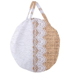 Parchement,lace And Burlap Giant Round Zipper Tote by 8fugoso