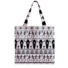 Halloween Pattern Zipper Grocery Tote Bag by ValentinaDesign