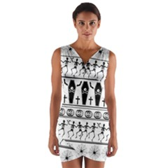 Halloween Pattern Wrap Front Bodycon Dress