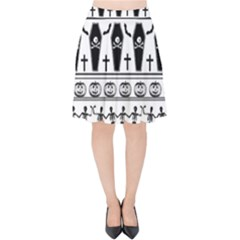 Halloween Pattern Velvet High Waist Skirt