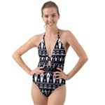 Halloween pattern Halter Cut-Out One Piece Swimsuit