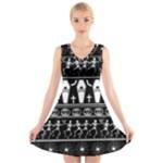 Halloween pattern V-Neck Sleeveless Skater Dress