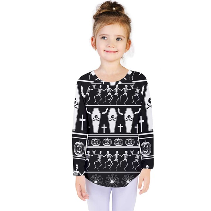Halloween pattern Kids  Long Sleeve Tee