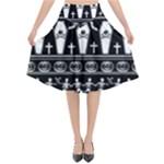Halloween pattern Flared Midi Skirt