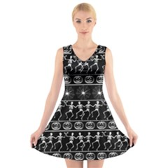Halloween Pattern V Neck Sleeveless Skater Dress by ValentinaDesign