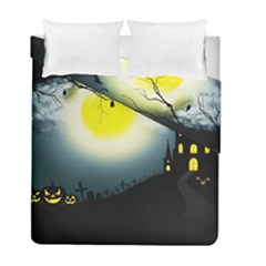 Halloween Landscape Duvet Cover Double Side (full/ Double Size) by ValentinaDesign