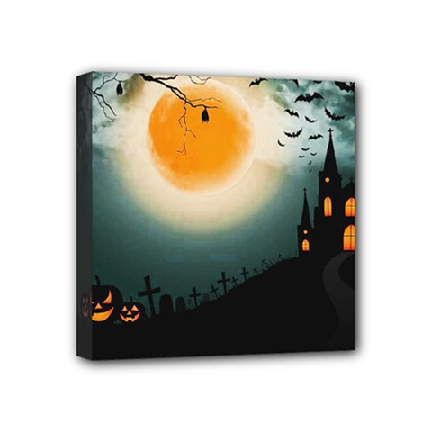 Halloween Landscape Mini Canvas 4  X 4  by ValentinaDesign