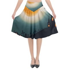 Halloween Landscape Flared Midi Skirt by ValentinaDesign