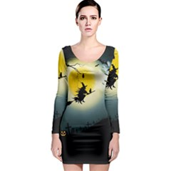 Halloween Landscape Long Sleeve Bodycon Dress by ValentinaDesign