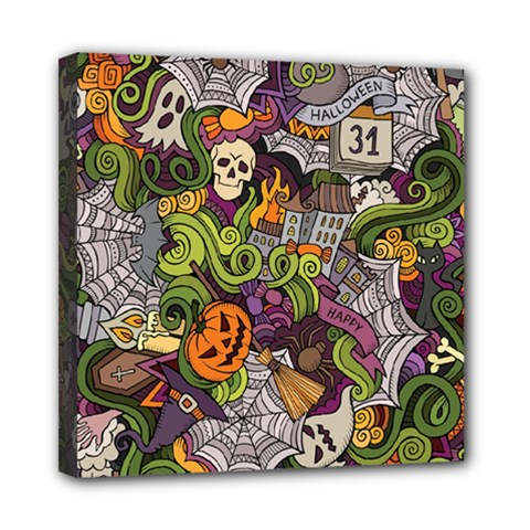 Halloween Pattern Mini Canvas 8  X 8  by ValentinaDesign