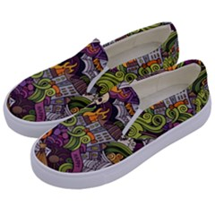 Halloween Pattern Kids  Canvas Slip Ons by ValentinaDesign