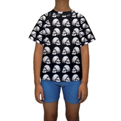 Halloween Skull Pattern Kids  Short Sleeve Swimwear by ValentinaDesign
