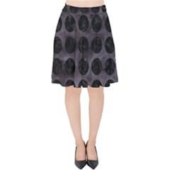 Circles1 Black Marble & Black Watercolor (r) Velvet High Waist Skirt by trendistuff