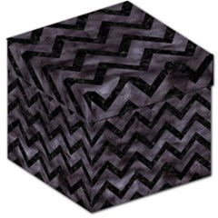 Chevron9 Black Marble & Black Watercolor (r) Storage Stool 12   by trendistuff