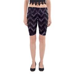 Chevron9 Black Marble & Black Watercolor Yoga Cropped Leggings by trendistuff