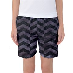 Chevron2 Black Marble & Black Watercolor Women s Basketball Shorts by trendistuff