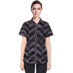 Chevron2 Black Marble & Black Watercolor Women s Short Sleeve Shirt
