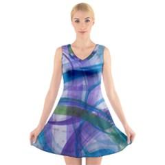 Construct V Neck Sleeveless Skater Dress by CreativeSoul