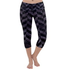Chevron1 Black Marble & Black Watercolor Capri Yoga Leggings