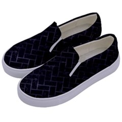 Brick2 Black Marble & Black Watercolor Kids  Canvas Slip Ons by trendistuff