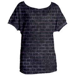 Brick1 Black Marble & Black Watercolor Women s Oversized Tee